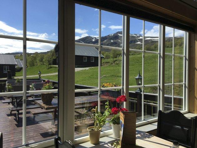 FANTASTISK: Det er vel plent umulig å forestille seg en vakrere utsikt enn fra spisesalen til Bessheim Fjellstue.
