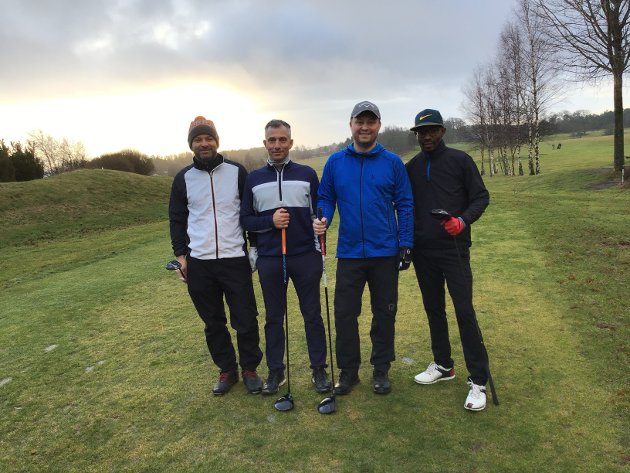 Tor Espen Simonsen, Stener Andreas Salomonsen, Vegard Janssen fra Norsjø golfklubb, sammen med Jan Åge Jensen fra Larvik.