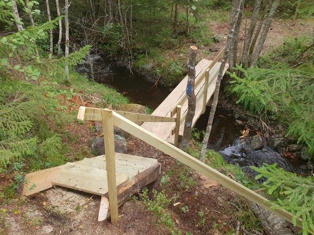 Bro bygget av dugnadsgruppa ved Frønesjøen.