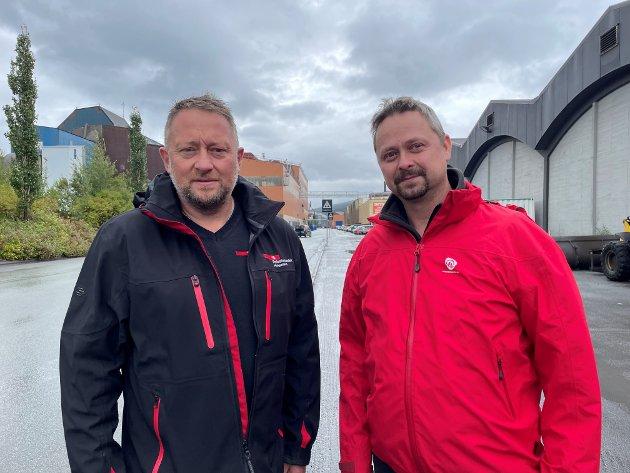 Tommy Nystad, leder i Fellesforbundet Helgeland, og Lars Y. Frøysa, leder i Rana Arbeiderparti.