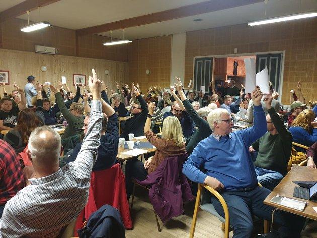 Stemte for tre skoler: Medlemsmøte i Ringsaker Arbeiderparti tirsdag kveld.