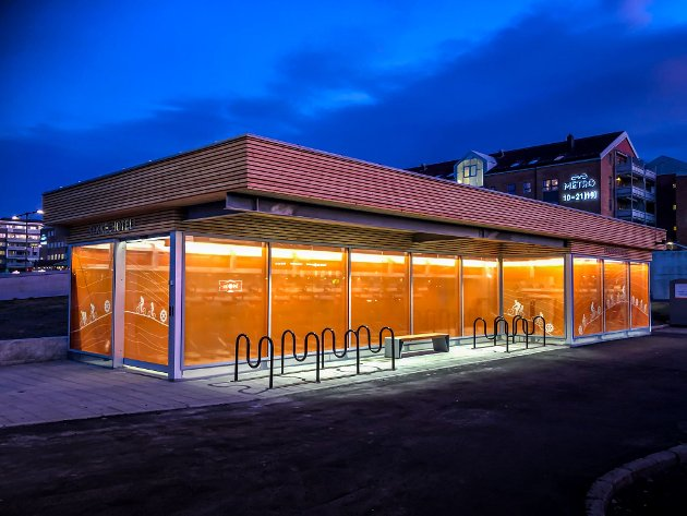 Sykkelhotell bed Lørenskog bussterminal/ Metro senter