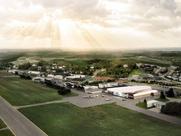 Et luftfartøyvernsenter på Kjeller med deler av dagens stripe vil kreve ca. 110 mål