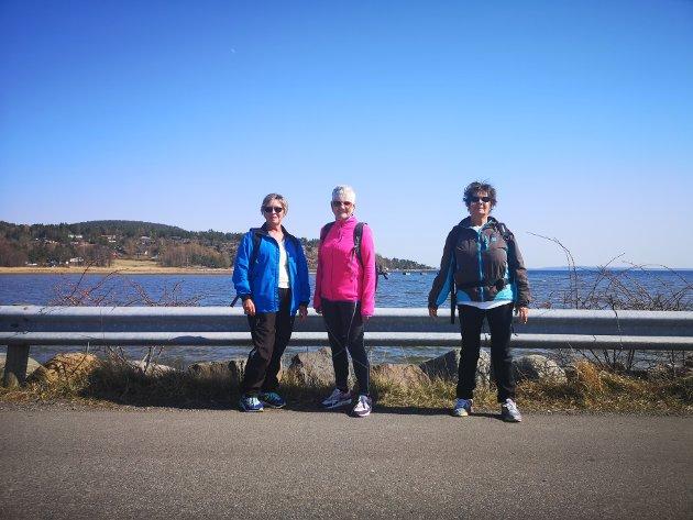 Gått rundt hele Bjerkøya: f. v. Anne Britt Holtan, Anne Elvegård og Aud Benden.