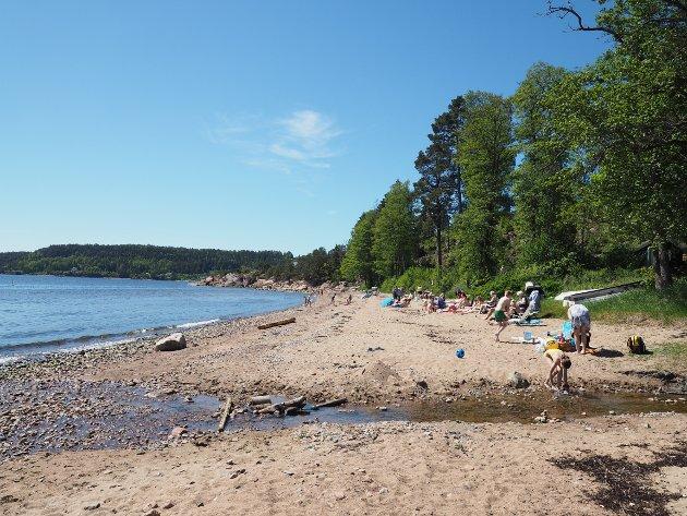 SOMMER:  Mange samlet seg ved sjøkanten på Hagasand i sommervarmen.