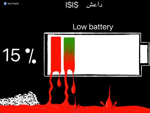 TERROR: Etter å ha vokst opp i en krigssone tegner Kawa ofte mot terrorister.