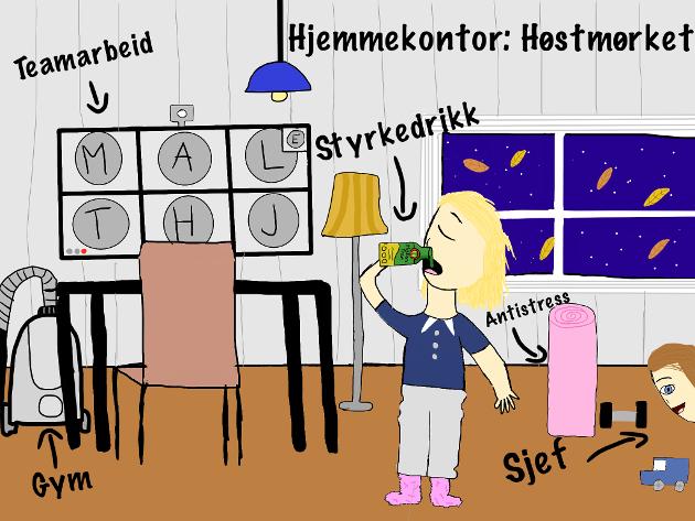 Etter koronahøsten kom vinter, og «fjellvettregler» for hjemmekontor kom etter hvert på plass, skriver Elena Rosnes, koordinator i Kompetanseforum Østfold, i dette innlegget. (Illustrasjon: Lara Rosnes, 12 år)