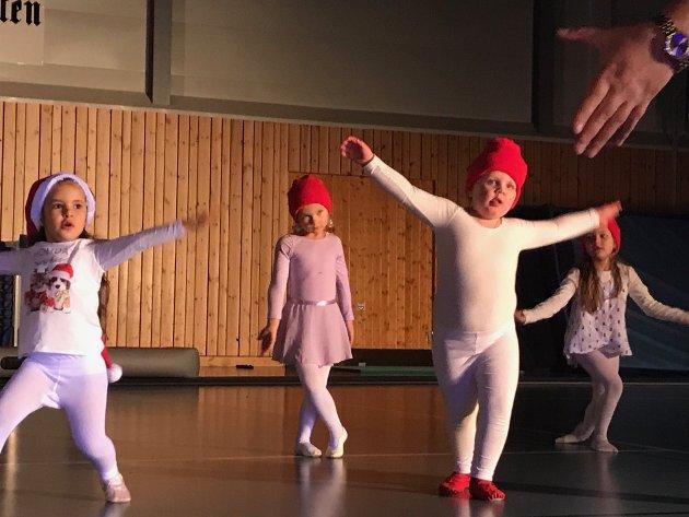 Lørdag deltok rundt 120 turnere i en stor oppvisning i Ebbestadhallen, arrangert av Svelvik turnforening. Målet var å skape julestemning blant tilskuerne. Her danser Nøstene, barn i alderen 4-6 år, til julemusikk.
