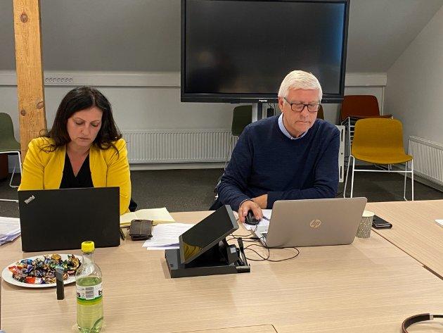 Arbeiderpartipolitikerne Berit Tønnesen og Bjarne Elde avbildet under et møte i formannskapet.
