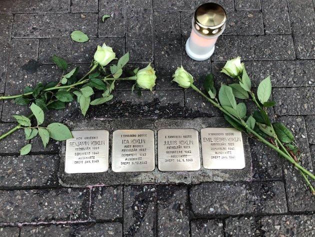 Snublesteiner etter familien Koklin i Tønsberg.