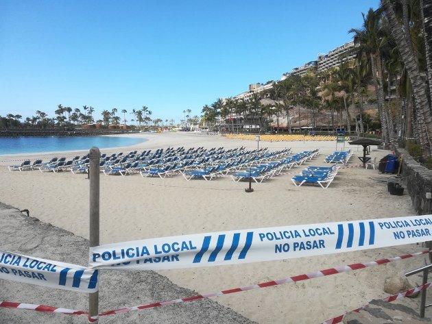 Ikke lov å gå på stranda nå.