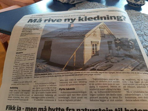 Eieren av dette huset risikerer å måtte ta ned den nye kledningen som er oppført på dette huset, det reagerer J-E Sverre på.
