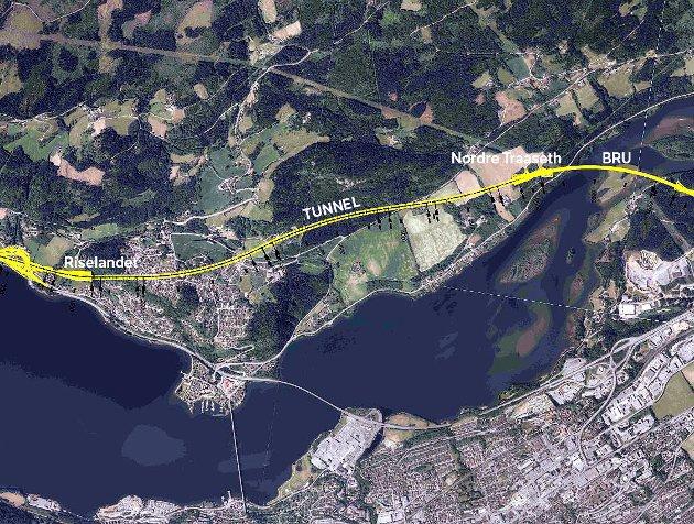 NY ÆRA: Ny E6 forbi Lillehammer starter på Riselandet, i lang tunnel forbi Traasethgardene, over ny bru over Lågendeltaet og i kort tunnel med tilhørende skjermingstiltak forbi Fåberg.