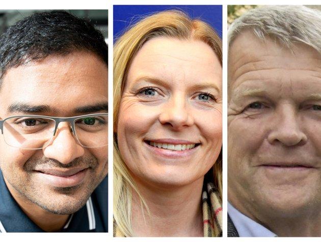 Samarbeid: De forlenger samarbeidet. Det er ikke sikkert seg er nok til å sikre makt etter valgt. F.v.: Mizanur Rahaman U(SV), Ingunn Trosholmen (Ap) og Terje Rønning (V).