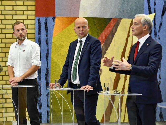 Lang veg: Det er ikke gitt at de finner sammen, partilederne Audun Lysbakken, Trygve S. Vedum og Jonas Gahr Støre.Foto: NTB
