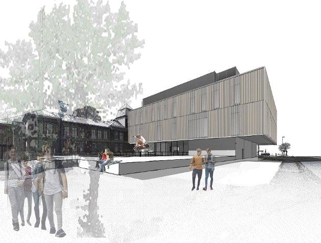 NYBYGG: Slik kan nye Ringerike videregående skole bli seende ut.  Illustrasjon: Norconsult