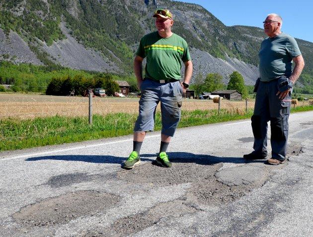 ELENDIG: Baksidevegen i Sel er i elendig forfatning, som så altfor mye av fylkesvegnettet.Foto: Solrun Snilsberg
