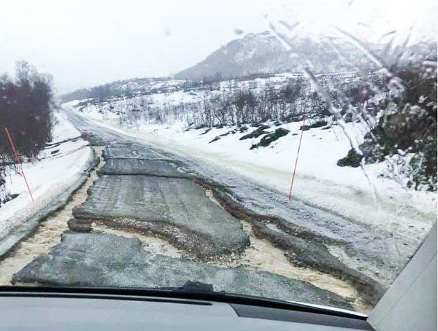 Fylkesveien til Finnkroken på Reinøya tidligere i vår.