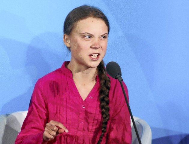 Engasjert: Greta Thunberg ga verdens toppledere det glatte lag.Foto: AP Photo/Jason DeCrow