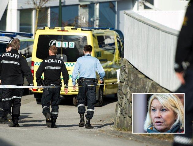 Beredt: Beredskapsminister Monica Mæland har ansvar for at politiet kommer fram i tide, også på bygda.