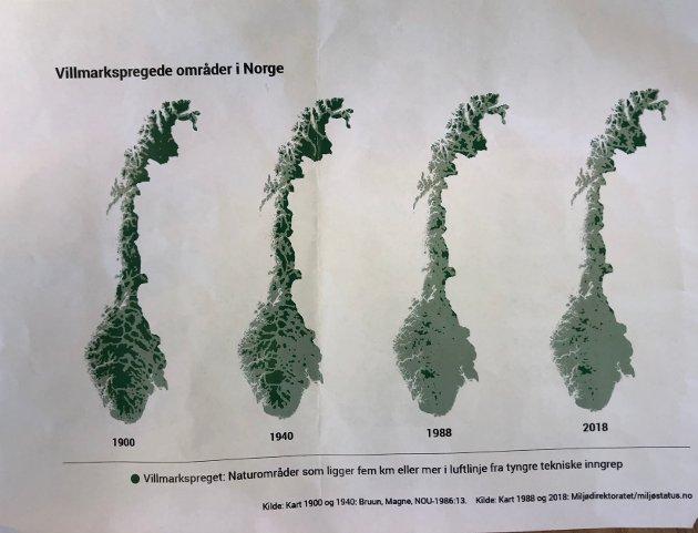 Kartet viser tydeleg den sterke reduksjonen av uberørte områder.