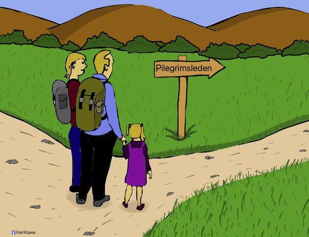 «Selvfølgelig kan hvem som helst gjøre vandringer på pilegrimsleden, det fordrer i seg selv ingen tro. Noen vandrere opplever seg selv kun som turister. Når det er sagt, er pilegrimsleder og pilegrimsvandring for andre noe opphøyet og hellig», skriver pastor Terje Berg i denne lørdagsbetraktningen. (Illustrasjon: Kawa Ahmed)
