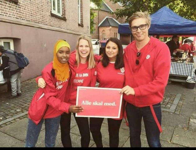 Christian Larsen på stand for Moss Arbeiderparti