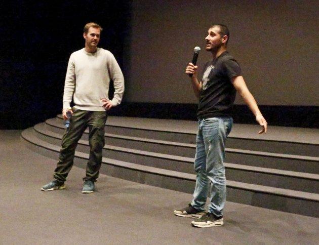 Regissør Jon Haukeland og Hachim, en av de medvirkende som spiller seg selv, viste filmen Barneraneren i Sal 1 på SF Kino Ski torsdag 29. september 2016 gjennom Den kulturelle skolesekken. Publikum fra Ski videregående skole fikk se en god og realistisk film. FOTO: STIG PERSSON