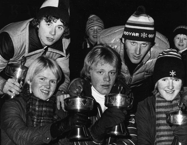 Langrenn, Unge skiløpere på 70 tallet. Hilde Riis, Sylling, Ole Tom Hillestad, ROS, Helga Havrestad Lier, bak Tor Håkon Holte og Oddvar Brå. 8.1.1977