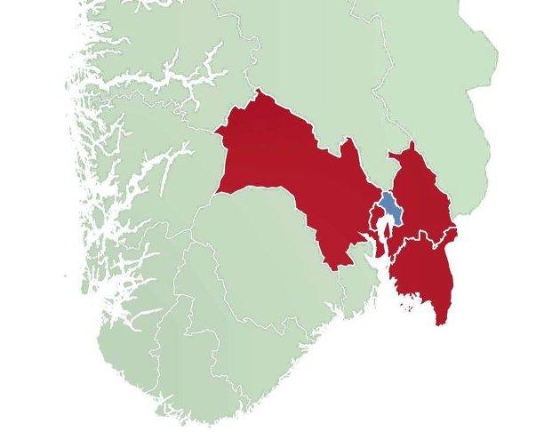 VEDTATT: Region Viken, vedtatt 8. juni 2017, består av Østfold, Akershus og Buskerud.