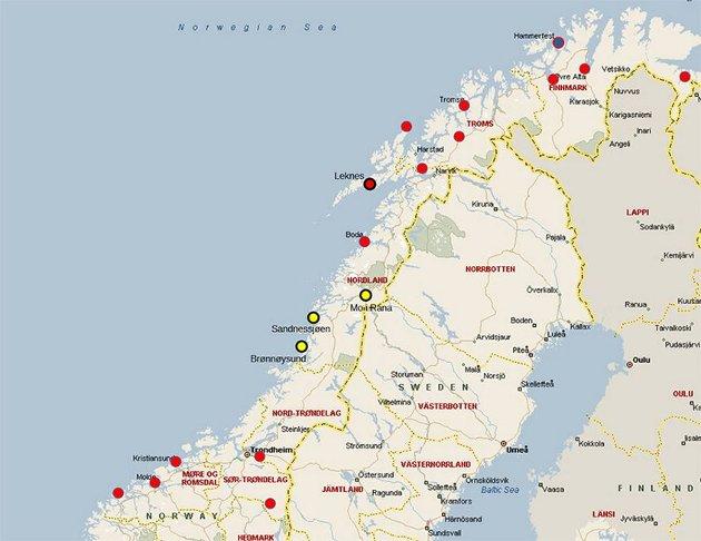 Oversikt over større lufthavner i Midt-Norge og Nord-Norge. I Lofoten  anbefaler Avinor å bygge en ny større flyplass i Leknes og det jobbes det med planer for en større flyplass i Hammerfest., Brønnøysund lufthavn og Sandnessjøen lufthavn, Stokka, kan oppgraderes til kategori 3C. Dersom utredning  viser at det samme også også gjelder Mo i Rana lufthavn, Røssvoll, kan vi ha tre lufthavner på Helgeland som kan betjene moderne jetfly med inntil 160 seter, skriver Kjell Inge Johnsen.