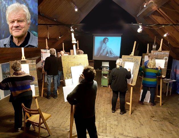 Scott Thoe (innfelt) og hans elever i atelieret i Stamsund.