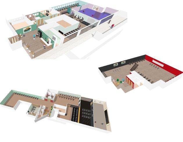 Det nye treningssenteret på Stovner Senter vil bestå av tre etasjer.