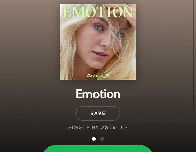 EMOTION: Astrid S er tilbake med ny singel. (Skjermdump fra Spottify)