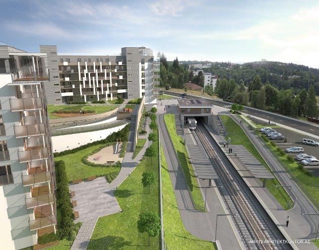 BOGERUD: Obos har fått ja til planforslaget med tre boligblokker ved senteret og T-banen på Bogerud. Illustrasjon: Obos/Ark 19