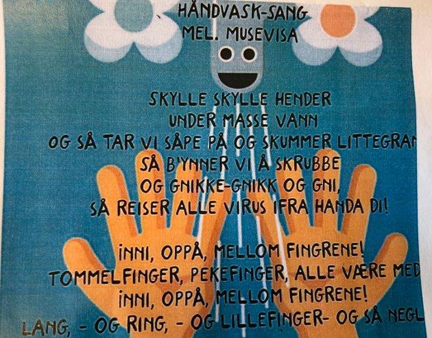 HÅNDVASK-SANG: Denne sangen, med melodi fra Musevisa, inspirerer Kjeldås-barna til å vaske hendene.