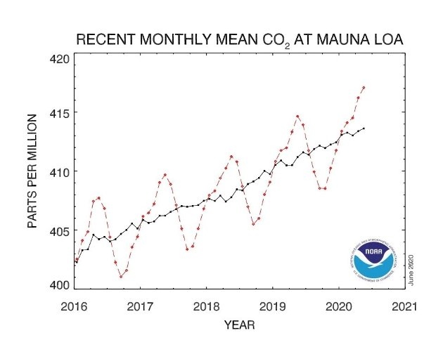 Figuren viser at CO2-innholdet årlig øker kraftig fra oktober til mai fordi fotosyntesen på den nordlige halvkule avtar sterkt. Deretter minker innholdet frem til september fordi fotosyntesen da våkner til liv og binder enorme mengder CO2 fra lufta.
