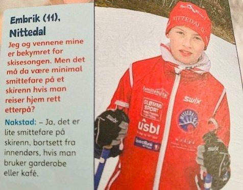 VIL GÅ SKIRENN: Emrik Nordset (11) fikk positivt svar fra Espen Rostrup Nakstad i Aftenposten junior 18. november 2020, og lurer derfor på hvorfor skirenn som Hakadalsrennet og GIF-stafetten likevel blir avlyst.