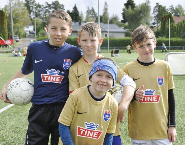 Tine fotballskole på Tomter i Hobøl: Olav Kaldahl, Ludvig Veidal, Tymon Stefanski, Anton Roaas hadde det helt topp på fotballskolen.