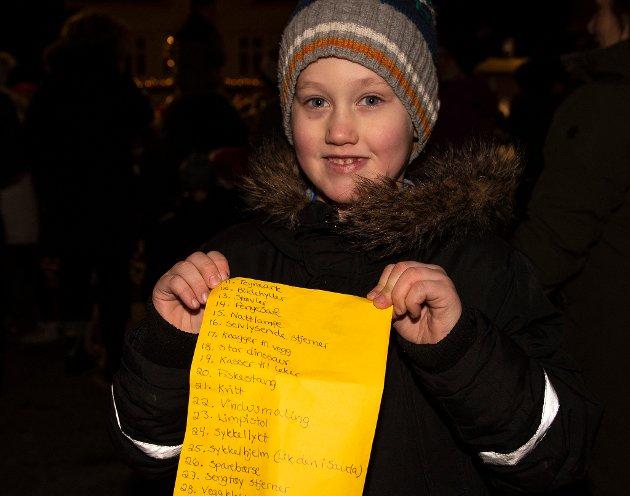 Liam Wiik (5) frå Høylandsbygd hadde planlagt godt. Sidan han visste nissen kom til julegrantenninga, tok han med ønskeliste som han hadde fått mora til å notera ned. I alt 30 ønske var på lista, alt frå sykkelpumpe til eit håp om at nissen tar turen til Høylandsbygd julaftan.