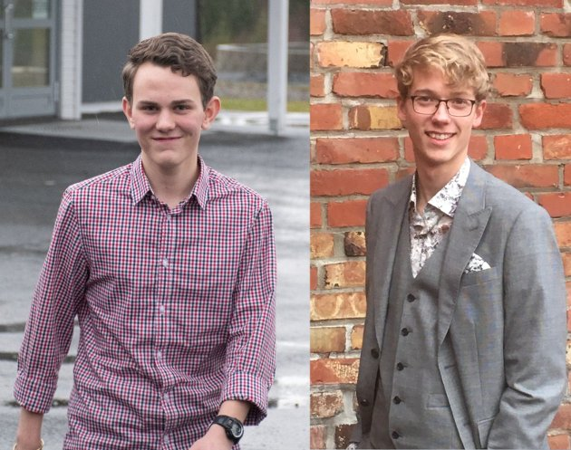 William Fonn (til venstre) og Isak Stene er bekymret for friskolene hvis venstresiden vinner valget.