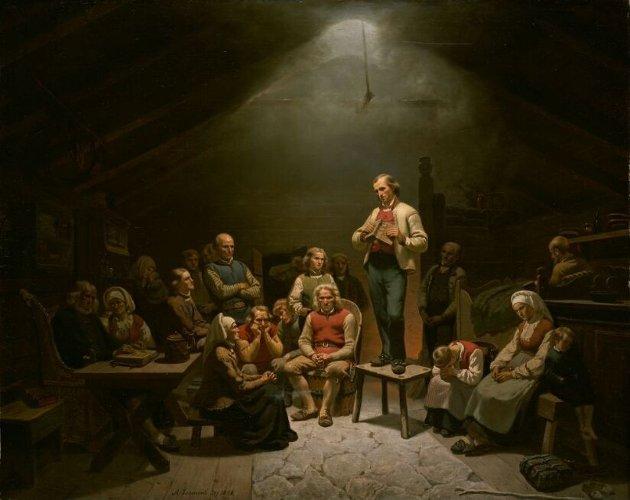 Haugianerne malt av Adolph Tidemand i 1852.   Foto: Nasjonalmuseet.