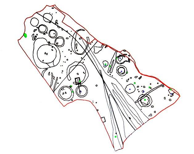 En tegning av området der man har funnet graver.