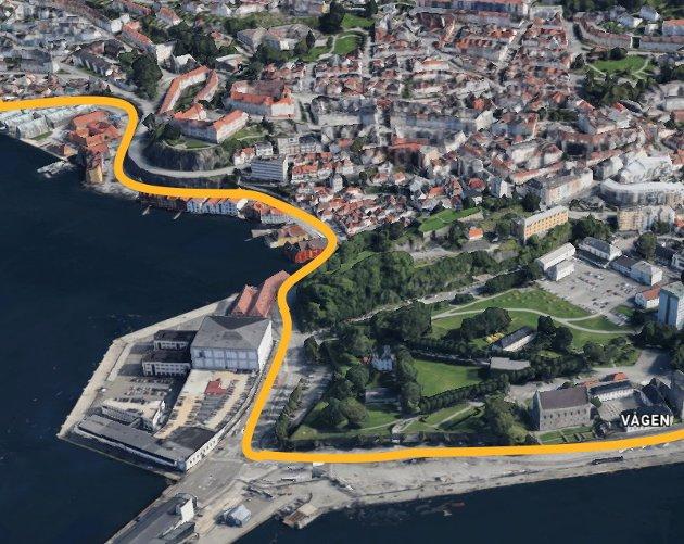 Her vil veivesenet bygge en midlertidig sykkelsti til 67 millioner kroner. Veien må fjernes når Bybanen til Åsane skal bygges. ILLUSTRASJON: BA