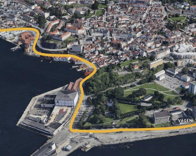 Det er planlagt en midlertidig sykkelvei fra Sandvikstorget til Bradbenken.