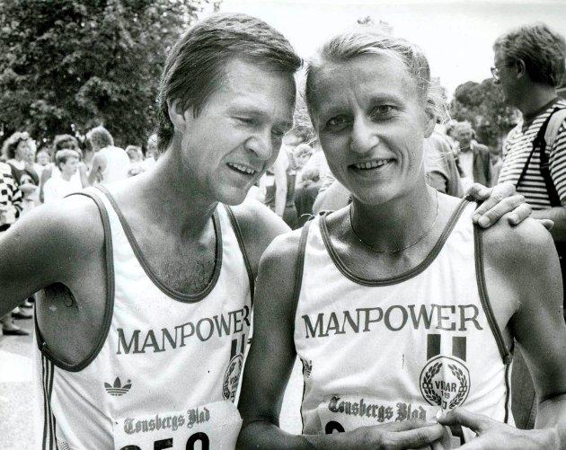 LØPERDRONNINGEN: Mange løperprofiler har deltatt i Kristinaløpet. Aller størst er kanskje Grete Waitz, her sammen med mannen Jack etter seieren i 1987.