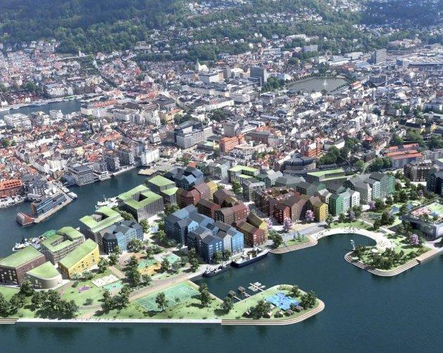 Slik ser Bergen kommune for seg at Dokken kan bli i fremtiden. Det er viktig at området ikke bare blir tilgjengelig for middelaldrende som har råd til å kjøpe de sentrumsnære boligene. ILLUSTRASJON: BERGEN KOMMUNE