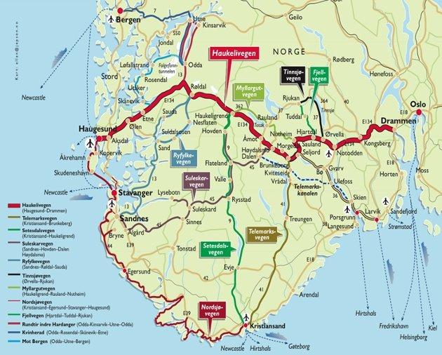 Dei fem fylka Telemark, Hordaland, Rogaland, Aust- og Vest- Agder som utgjer denne regionen kan tilby dei reisande ein fullkomen Noregstur.