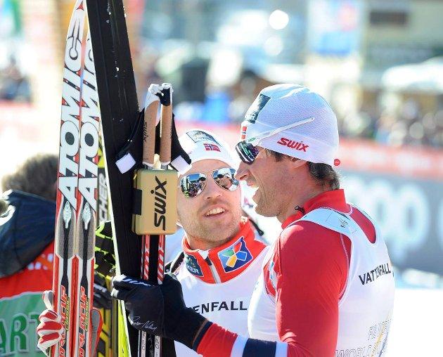 GLEMMER IKKE: Petter Northug glemmer aldri at han ble vraket til Torino-OL for 14 år siden. Her i samtale med Tord Asle Gjerdalen.