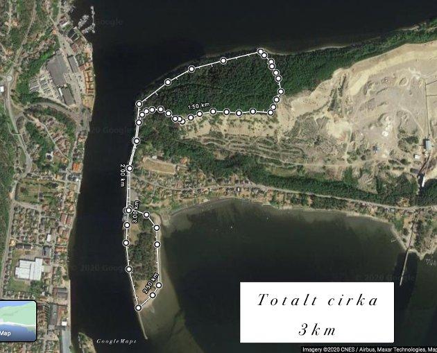Kart:  Her er en skisse over turen, total lengde på denne siden av fjorden var cirka 3 km.  Om du går hjemmefra til ferja kan det bli en lengre tur.